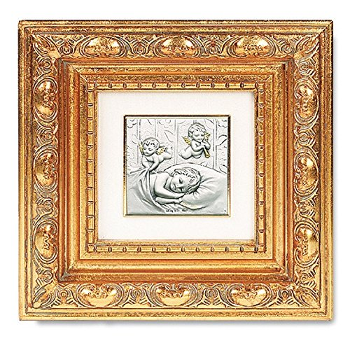 Resin Framed (Gold Leaf Resin Framed Italian Art with Baby with Guardian Angels Image)
