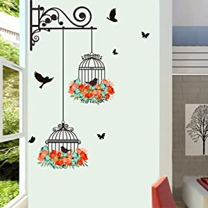 Youyouyu Birdcage Flower Flying for Living Room Nursery Room Wall Stickers Vinyl Wall Decals Wall Decoration for Kids Room Home Decor(Birdcage B)