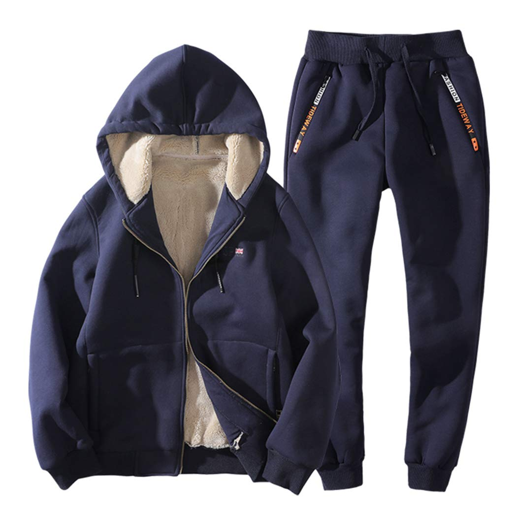 Real Spark Men's Winter Fleece Hoodie Jacket & Jog Pants Set Casual Running Tracksuit Navyblue M by Real Spark (Image #1)