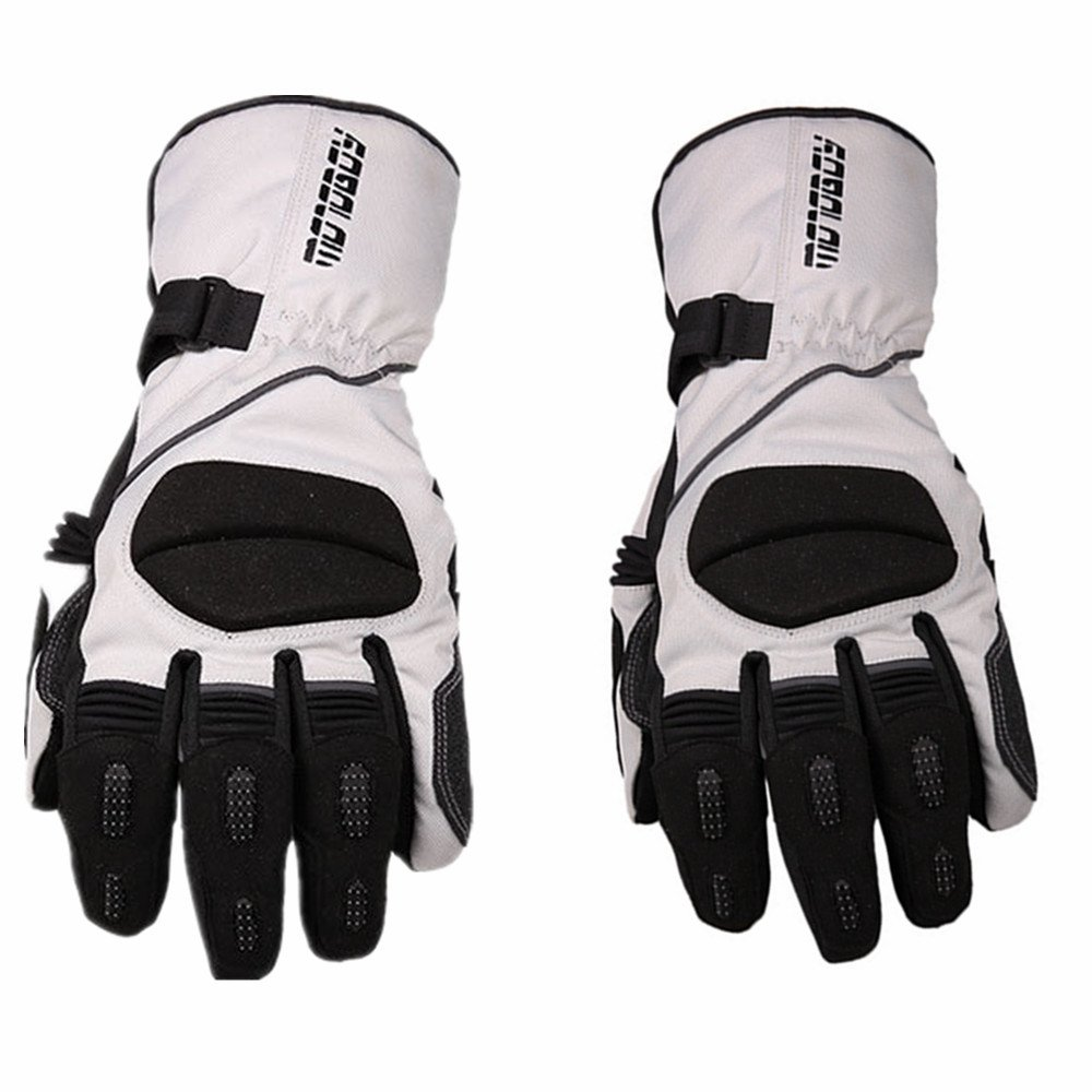 Sdcvopl Protective Gloves Motorcycle Full Finger Gloves Winter Waterproof Warm Gloves for Motorbike Cycling Racing Hiking Ventilation (Color : Gray, Size : M)