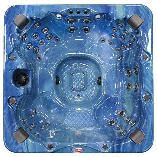 American Spas AM-756BP 6-Person 56-Jet Bench Spa with Bluetooth Stereo System, Pacific Rim and Mist by American Spas