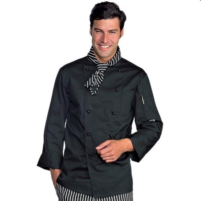 Chaqueta negra para hombre de chef cocinero de polialgodón Negro small