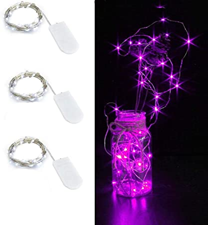 multicolor 1M Incl Copper Wire Pack of 3 Sets LED Starry String Lights with 10 Micro LEDs on 3.3ft 1m for Wedding or Christmas Party Table Decorations Fairy Lights Battery Powered by 2x CR2032