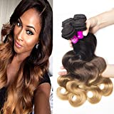 Tinashe 8a Brazilian Body Wave 4 Bundles Human Hair 100 Unprocessed Hair Extension Ombre Color 1B/4/27 (18 20 22 24) Review