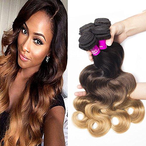 Tinashe 8a Brazilian Body Wave 4 Bundles Human Hair 100 Unprocessed Hair Extension Ombre Color 1B/4/27 (18 20 22 24)