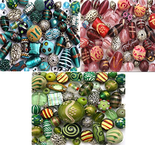 Lampwork Mixed Beads Glass (3 x Packs of Handmade Jewelry Making Beads Glass Lampwork, Wood, silver Tibetan, Turquoise, Pink & Green Mixed Selection)