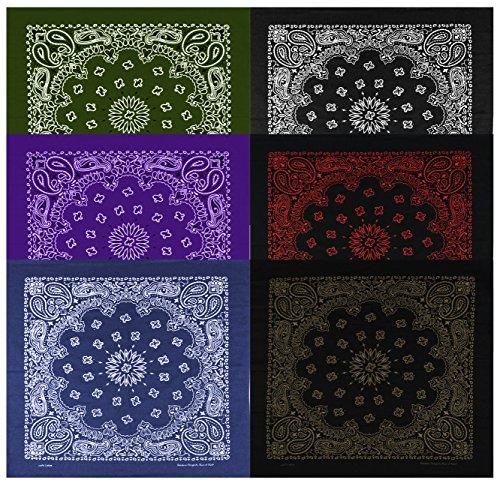 Copper Paisley (Large Bandanas 27 x 27 | Versatile Biker Rags | Classic Paisley Bandana Pattern,6 Pack,B.Copper/B.White/B.Red/Navy/Olive/Purple)
