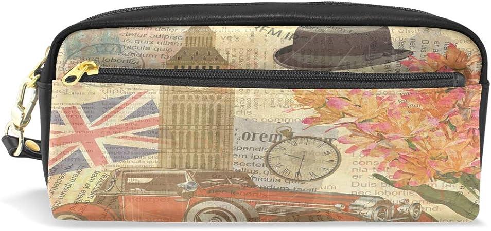 WowPrint - Estuche de piel sintética con cremallera para lápices, diseño vintage de Londres: Amazon.es: Oficina y papelería