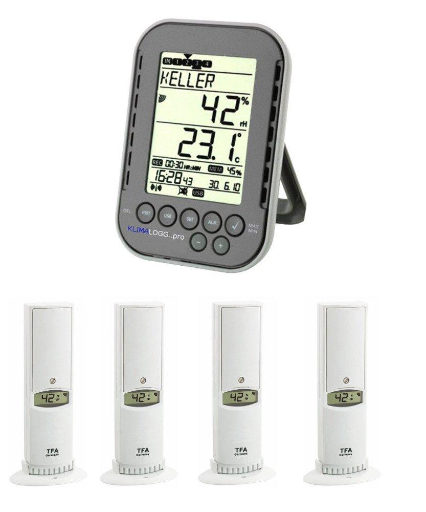 Chiese organo monitoraggio Klimalogg Pro Plus 30.3039.10.Plus antracite incl. 4 pezzi temperatura umidità trasmettitore 30.3180 TFA