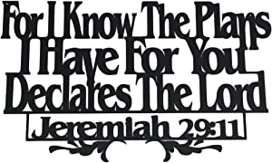 Inspirational Word Art, Christian Faith Biblical Verse Wall Sign, Hand-Made Wooden Decoration Plaque for Home, Office, Church, 11 x 17 inches (Know The Plans)