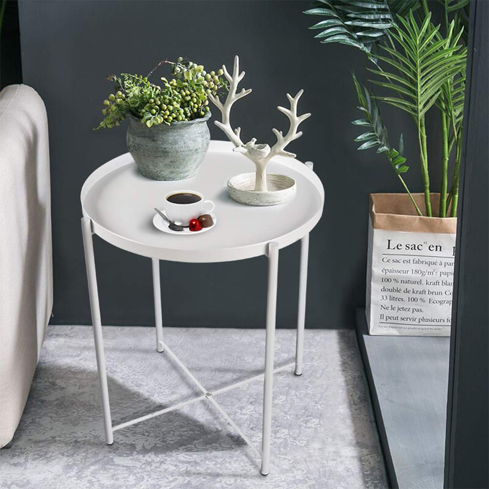 Round Side Table - 20'' Small Metal Folding Tray End Table, Modern Steel Patio/Garden/Sofa/Coffee/Snack/Bed/Nesting Tables Nightstand for Living Room Bedroom Decor Indoor Outdoor-White