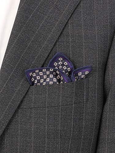 (ザ・スーツカンパニー) ペイズリー×小紋プリント シルクポケットチーフ ネイビー系