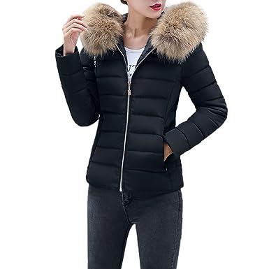 competitive price f6207 485e2 Elecenty Cappotto Elegante Donna Corta Piumino Invernale Giacca per giacche  di cotone in pelliccia sintetica invernale Pelliccia Cappuccio Corto ...