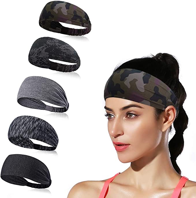 Maven Thread Womens Headband 2 Wide Yoga Running Exercise Sports Workout Athletic Gym Wide Sweat Wicking Stretchy No Slip 4 Pack Set Black Blue Teal Red Black Dynamo