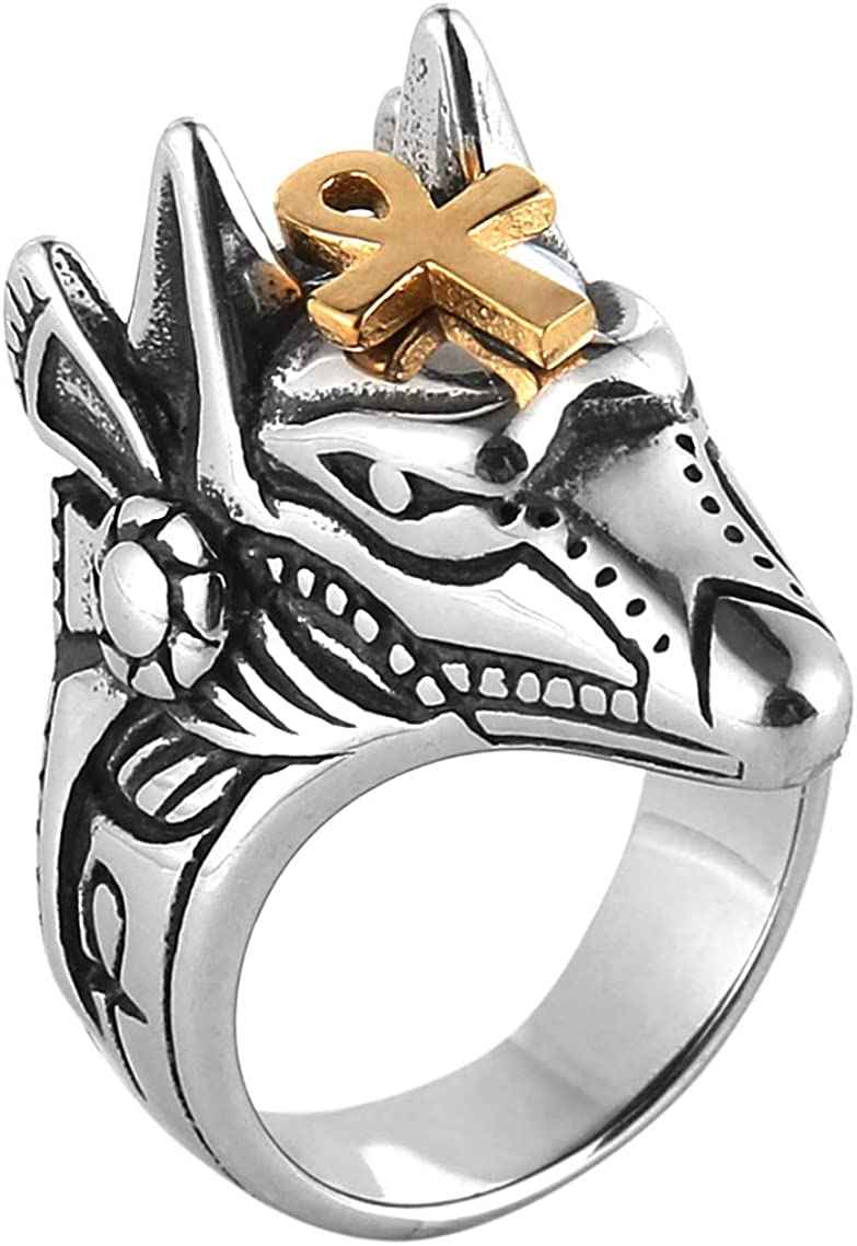 HZMAN Men's Egyptian God Anubis Gold Ankh Cross Ring Stainless Steel Biker Band