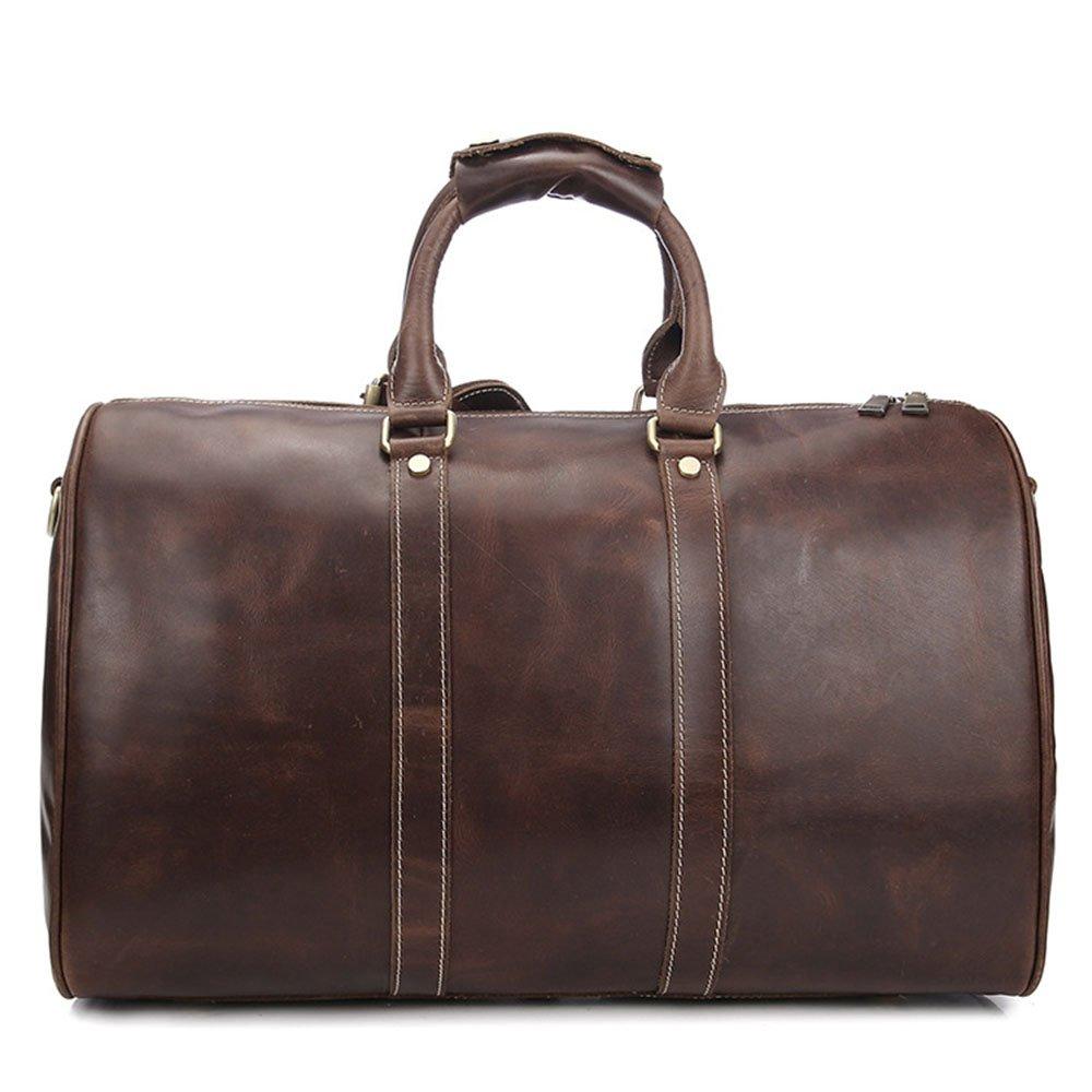 Color : Wine red Yangjiaxuan Leather Travel Bag Mens Hand Luggage Bag Shoulder Bag Oversized Tote Bag