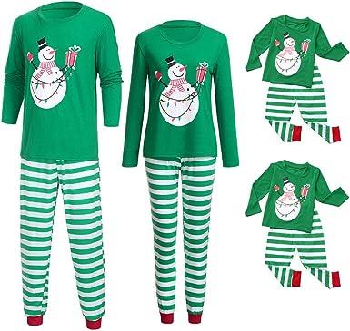 POLP Niño Pijamas de Navidad Familiares Camisa Interior Ropa de Dormir Santa Claus Ropa niñas Unisex casa Pijama Bebe Navidad Regalo Manga Larga Camiseta Tops a Rayas Pantalones Hombre Mujer: Amazon.es: Ropa