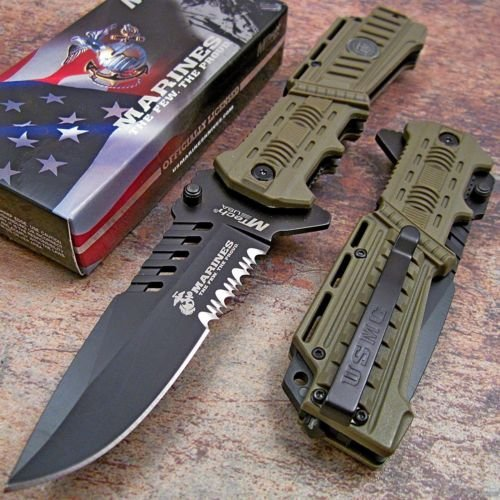 Folding Rescue Pocket Knife (Usmc Marines Desert Spring Assisted Opening Tactical Rescue Folding Pocket Knife)