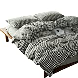 Black and White Duvet Covers OTOB 100 Cotton Black and White Gingham Plaid Print Duvet Cover Set Simple Modern Geometric Grid Checkered Bedding Set for Kids Adults Boys Girls Teen,Soft and Easy Care,Fade Resistant,Queen Full Size
