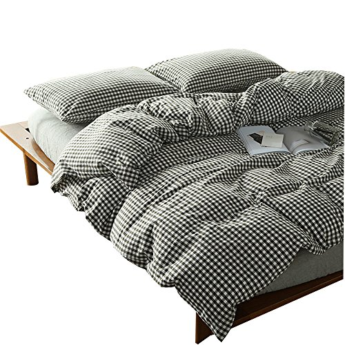 (OTOB 100 Cotton Brown White and Black Gingham Plaid Print Duvet Cover Set Simple Modern Geometric Grid Checkered Bedding Set for Kids Adults Boys Girls Teen,Soft Easy Care,Fade Resistant,Queen Full)