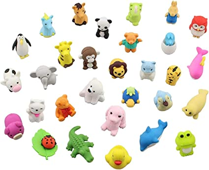 24 Radiergummi Tiere für Büro Schule Kids Mitgebsel Mitbringsel Kindergeburtstag
