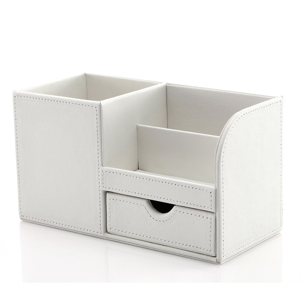 KINGFOM Multifunctional Desk Organizer Pencil Holder 3 Compartments with Drawer Cell Phone Box White
