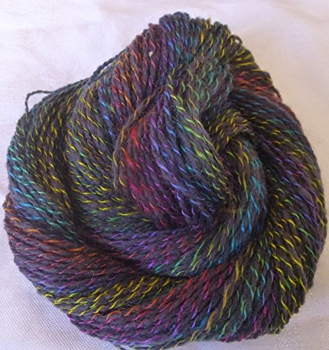 Circus Charcoal Gray twisted with multicolor jewel tones sport weight knitting crochet yarn