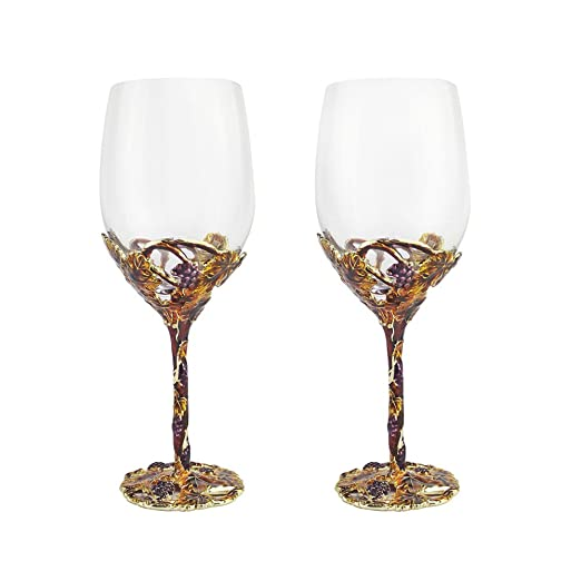 QINLEI Copa de vino de cristal, esmalte de color, de alta ...