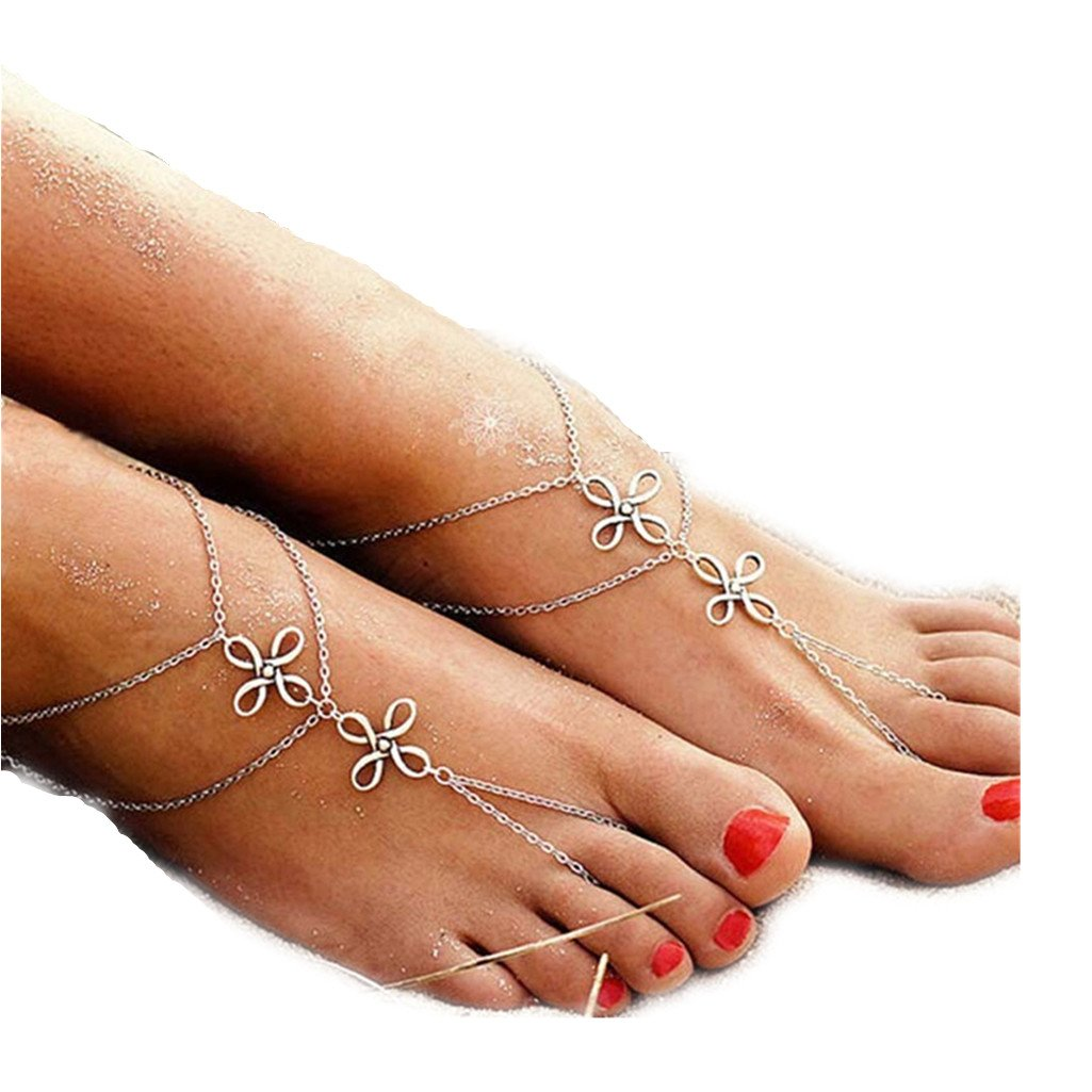 XILALU Fashion Beach Multi Tassel Toe Chain Link Foot Jewelry Anklet Chain XILALU111