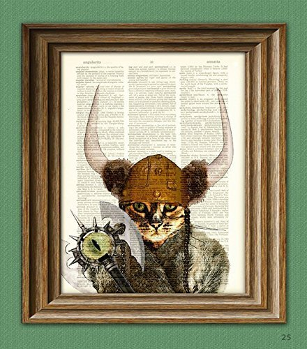Catseye the Mauler VIKING CAT with battle axe, helmet and Nordic horns illustration beautifully upcycled dictionary page book art (Helmet Axe)