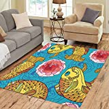 Semtomn Area Rug 2' X 3' Outline Golden Koi Carp and Pink Chrysanthemum Dahlia Turquoise Japanese Ornate Fish Home Decor Collection Floor Rugs Carpet for Living Room Bedroom Dining Room