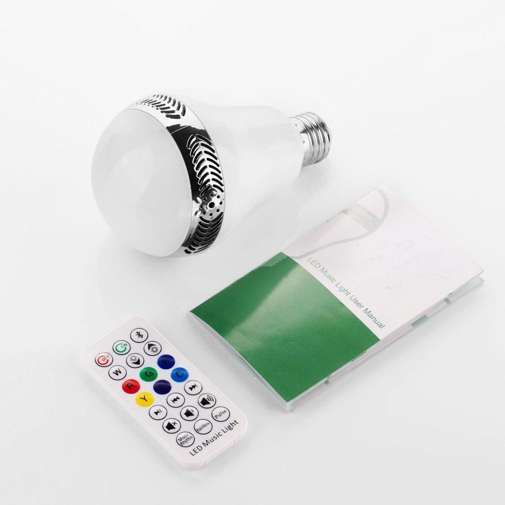 Bunte LED Birne mit separater wei/ßer LED Fernbedienung inkl RGBW 14W LED Color Light /& Music