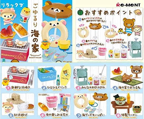 (Full set Box 8 packages miniature figure Rilakkuma Goyururi Beach House by Re-Ment from Japan)