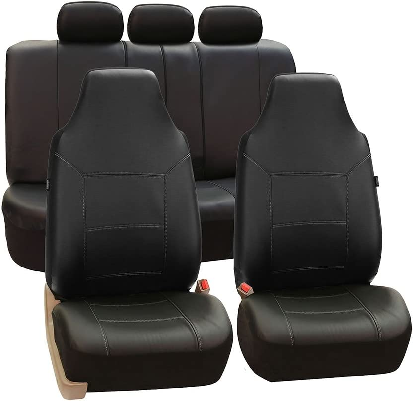 FH Group Universal Fit Full Set High Back Royal Seat Cover - PU Leather (Black) (Airbag Compatible and Rear Split, Fit Most Car, Truck, SUV, or Van, FH-PU103115) (PU103BLACK115)