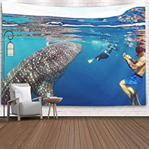 KIOAO Tapestry Wall Art Dorm Tapestry,Tapestry for Women College Tapestry Whale Number Tourist Wild Shark Sea Island Sunday Sharka Snorkeling Giant Dorm Room Tapestry 80X60Inch Tapestry for Man