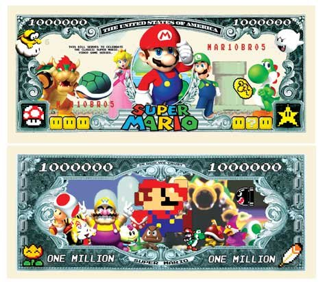 Set of 10 - Super Mario Brothers Million Dollar Bill (Mario Super 10)