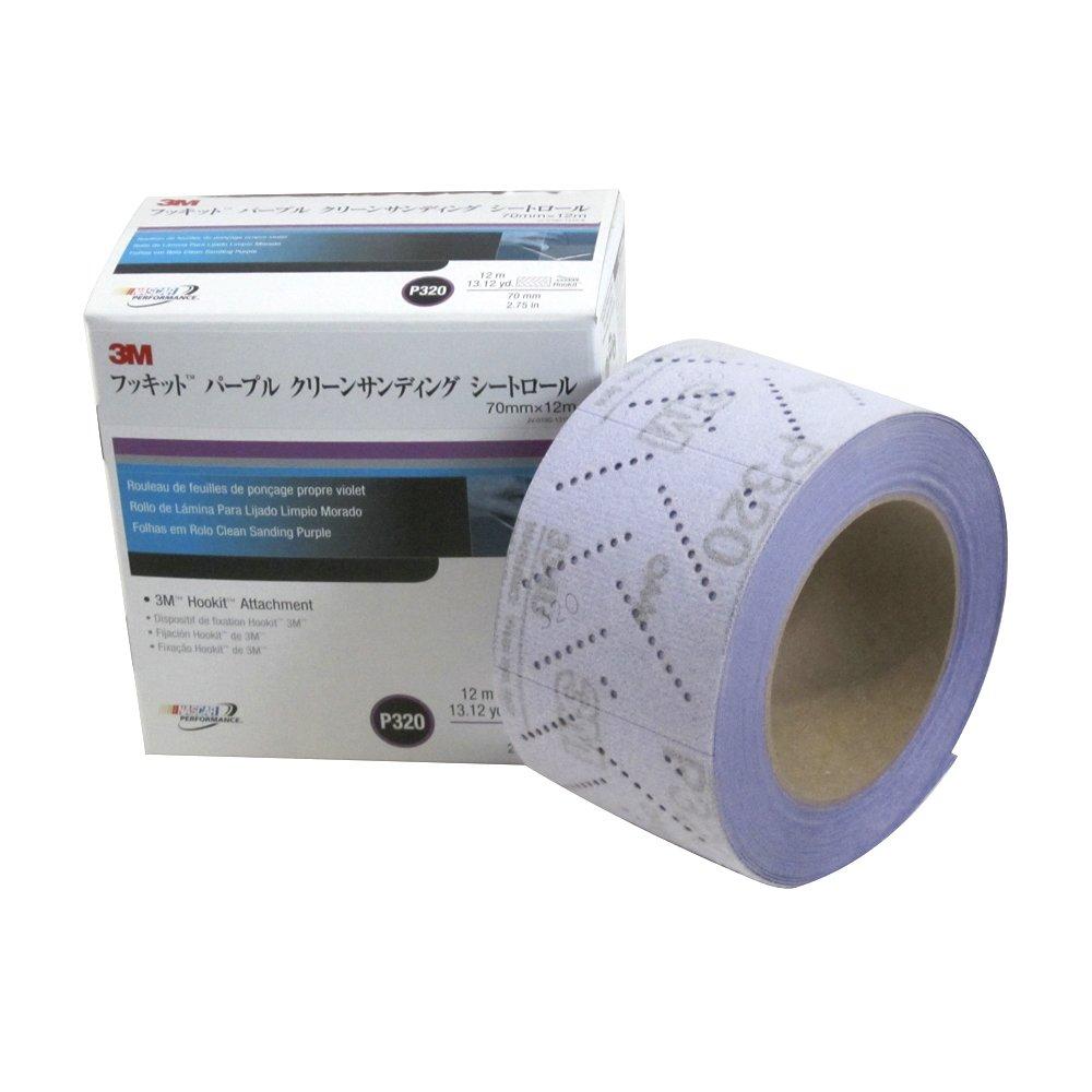 3M 30705 Hookit 334U Purple 70 mm x 12 m P320 Grit Clean Sanding Sheet Roll