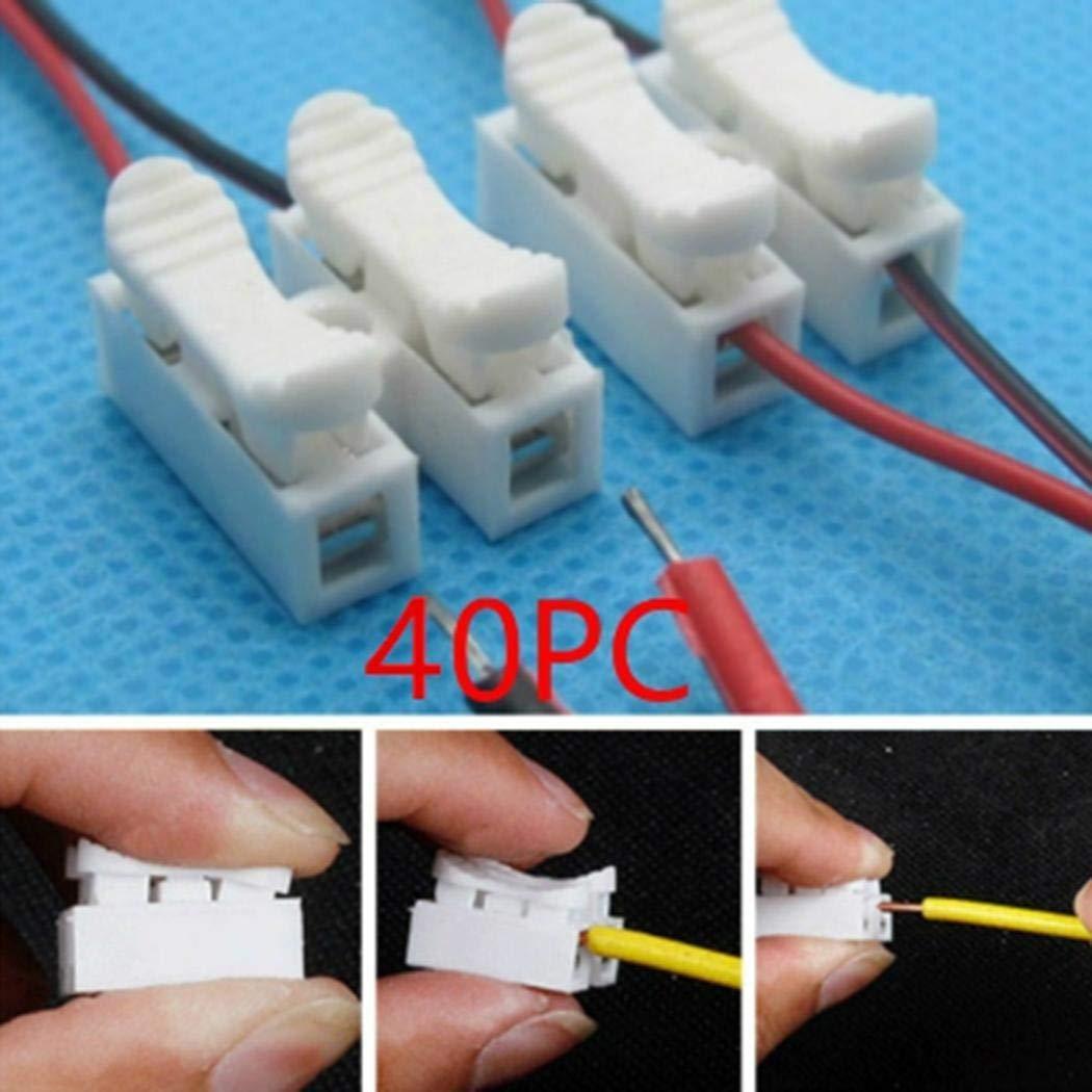 YAGAIU Kein Lö ten Schnell 2P Kabel Drahtverbinder Keine Schraubklemmenblock Federklemme (weiß )