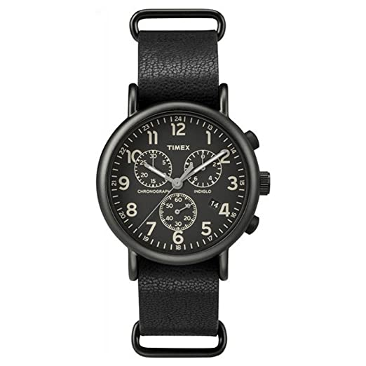 Timex #TW2P62200 Mens Weekender Slip-On Leather Band Black Dial Chronograph Watch