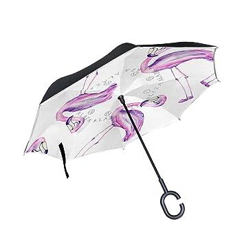 DragonSwordlinsu Paraguas inverso de Doble Capa con Flamenco de Acuarela para Coche y Exterior, Resistente