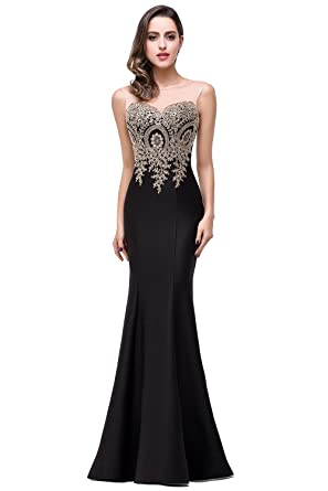 MisShow Womens Applique Mermaid Evening Dress Formal Long Prom Dress Black US2