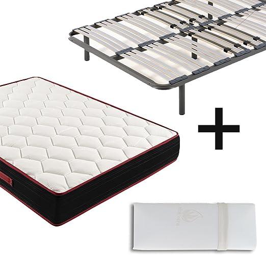 Colchón Viscoelástico Memory Fresh 3D + Somier Multiláminas Con Patas De 32cm + Almohada 100% Viscoelástica, 180x200cm (2 Somieres de 90cm Con Abrazadera y 2 almohadas de 80cm): Amazon.es: Juguetes y juegos