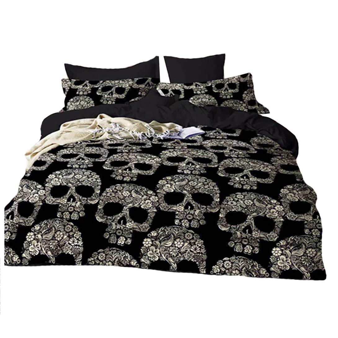 Vdual Imprim/é en 3D myst/érieuse Aquarelle T/ête de Mort Parure de lit avec Housse de Couette Parure de lit Comprennent