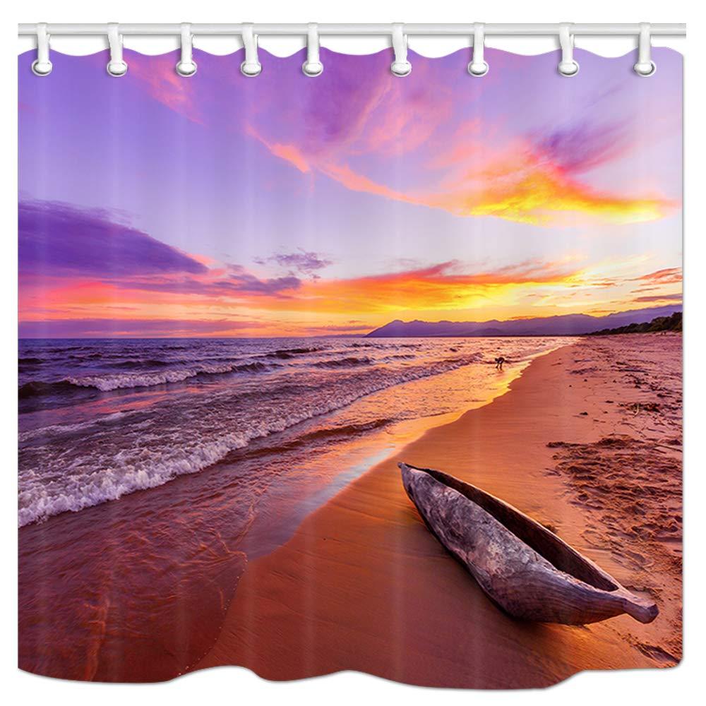 Polyester Fabric Bathroom Shower Curtain with Hooks 69x70Inches Africa Canoe Boat on Beach Peaceful Beach Bath Curtain Bathroon Accessories JAWO Sunset Beach Shower Curtain