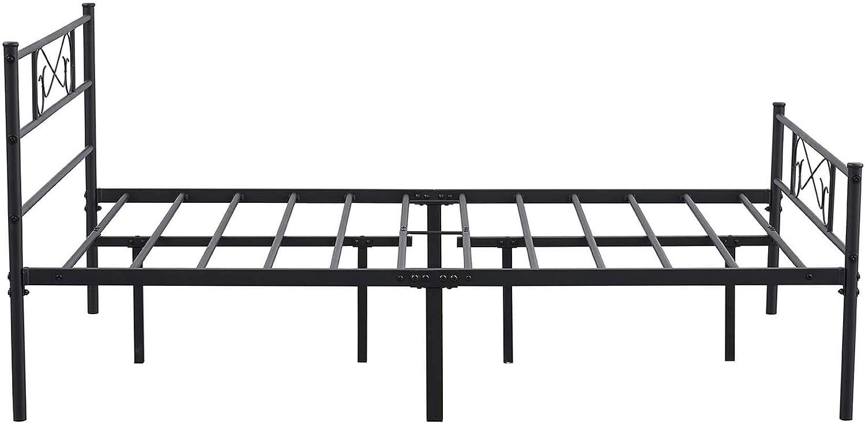 EGOONM Marco de Cama de Metal- Estructura de Cama de Metal con patrón, con Almacenamiento Grande y para Adultos, Negro (140 X 190)