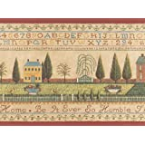 Country Cross Stitch Alphabet Sampler Colonial Wallpaper Border