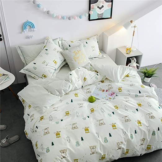 LAYENJOY 3 Piece Kids Owl Bird Tree Print Duvet Cover Twin and Pillow Shams Bedding Sets for Teens Boys Girls Cotton Percale Soft Breathable Hypoallergenic with Hidden Metal Zipper Closure
