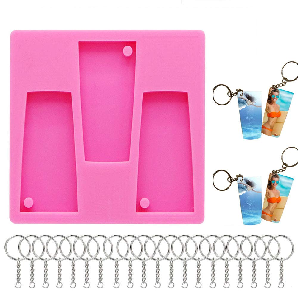 Octor Tumbler Resin Silicone Mold, DIY Water Glass Shape Silicone Tumbler  Mold for Keychains Perforated Resin Mold, with 20pcs Key Chains(Pink)