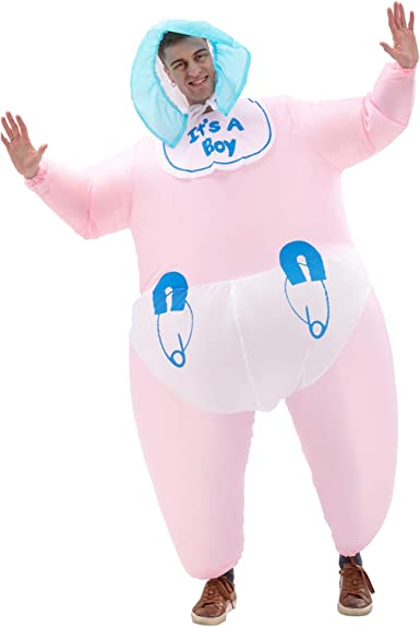 HUAYUARTS Men's Inflatable Costume Boys Giant Blow up Party Halloween Christmas Child Baby Cosplay, Baby-pink, Adult