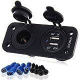 ISWEES KFZ Auto Adapter Steckdose Zigarettenanzünder Ladegerät mit Dual USB-Buchse Verteiler 12V, Schwarz